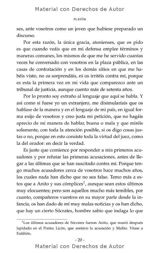 Interior del libro: Apología de Sócrates de Platón 07