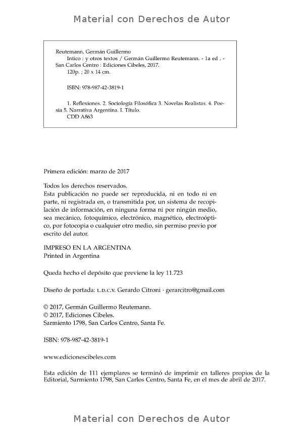 Interior del libro: Intico y otros textos de Germán Reutemann 02