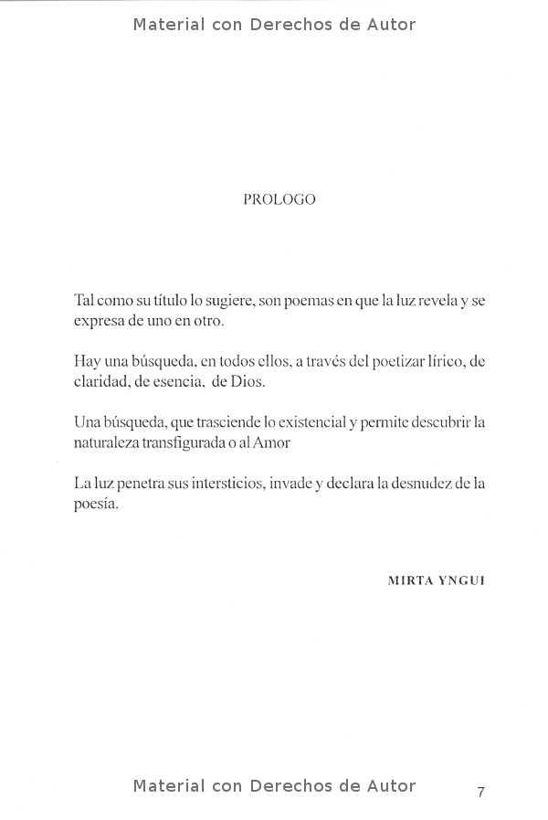 Interior del Libro: Poemas Bajo la Luz de Mirta Yngui 03